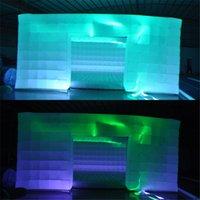 O ar inflável do partido 7x7x3.2m cabine cubo cúbico balão de casamento tenda de tenda de exposição de exposição com tiras de LED em