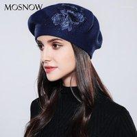 Berets Mosnow Mulheres Beret Elegante Flor Rhinestones 2021 Outono Winter Winter Quality de Alta Qualidade Chapéus Femininos Chapéus # MZ7401