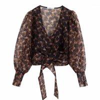 Kadınlar çapraz v boyun baskı şeffaf organze önlük bluz gömlek etek yay bağlı kimono blusas retro chemise ls43211 kadın bluzlar tops