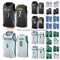 Nueva estación Brooklyn8boston Kevin 7 Durant Jersey Kyrie 11 Uniforme Irving Basketball Jason 0 Tatum 7 Brown 8 Walker 2020-21 City Jersey