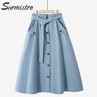 Surmiitro 100% Baumwolle MIDI Rock Frauen mit Gürtel 2020 Sommer Koreanische blaue Einreiher Hohe Taille Sun School Rock Weiblich1
