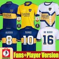 2020 2021 Boca Juniors Juniors Camisas de Futebol Tevez Maradona de Rossi Fans Versão do jogador Carlitos Camiseta de Fútbol Homens Crianças Terceiro Futebol