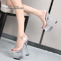 Sandalen Shuzumiao Schuhe für Frauen-Plattform Sexy High Heels High-Heeled Transparent Klarer Streifen Pole Dance Stiletto