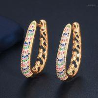 Luala 2020 Nuovo Designer Circle Circle Round Dangle Multi Colorato Cubic Zircon Crystal Dubai Gold Hoop Huggie orecchini per le donne CZ5891