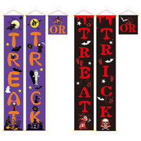 Truque ou travessura bandeira do sinal da varanda de Halloween para a porta da frente ou a decoração home interna sinais bem-vindo Decorações do Dia das Bruxas JK1909KD