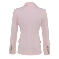 HIGH QUALITY New Fashion Baroque Designer Blazer Jacket Women's Silver Lion Buttons Double Breasted Blazer Outerwear 201008