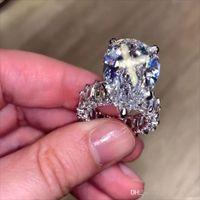 10ct Big Diamond Ring Vintage Schmuck 925 Sterling Silber einzigartiger Cocktail Birne Schnitt Weiß Topas Edelsteine Frauen Hochzeit Verlobungsband Ring