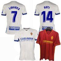 2020 2021 echtes Zaragoza-Fußball-Trikots Linares Javi Ros 20 21 Home Away football Mend and Kids Shirt