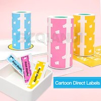 Printers 3 Roll Cute Bear Self-adhesive Label Sticker Thermal Printing Paper 57X30 For Peripage Bluetooth Printer