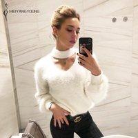 MEIYANGYOUNG Halter évider pull en tricot Pullovers surdimensionnée Pulls d'hiver Hauts pour femmes Jumper Pull Femme 201017