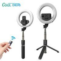 Cool Dier Haute Qualité Haute Qualité Bluetooth Selfie Selfie avec bague à LED Fill Light 2 en 1 pour Tourisme de diffusion en direct LJ200828