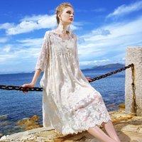 فساتين عادية 2021 المرأة أزياء شبكة اللباس انظر من خلال الدانتيل السيدات زهرة التطريز vestido S071