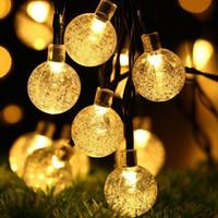 LED Işıklar Güneş Su geçirmez Kristal Küre Noel Dize Dış Aydınlatma Courtyard Süsleri Işıklar Enerjili 30 Ampüller 6.5m GGE2082