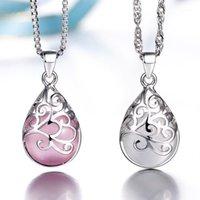 Zincirler 925 Ayar Gümüş Kolye Aşk Açı Gözyaşı Ay Işığı Opal Kolye Neckace Kadınlar Için Hediye 45 cm Kutu Zincir Gergi1