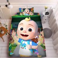 Kind Cocomelon JI 3D Druck Bett Bügelblatt Drei-teiliges Sets Kissenbezug + Bettblatt + Quilt Cover-Bettwäsche Kinder Cocmalon Supplies LY118A 1