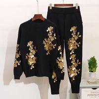 Tuta da donna Autunno Donna Paillettes Paillettes fiori Maglione Pantaloni Set Set a manica lunga Ladies Knit Pullover Tops + Pantaloni Inverno Abbigliamento Abbigliamento