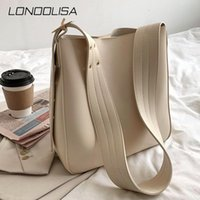 Large Capacity Women Bucket Shoulder Bag High Quality PU Lea...