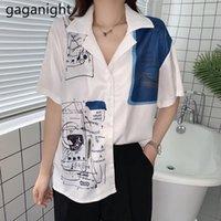 Gaganight francês estilo mulheres blusa vintage manga curta moda meninas graffiti cópia camisa feminina chique coreano solto blusas fina1