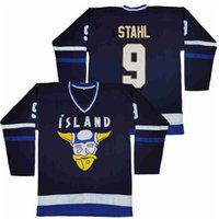 Película Islandia Mighty Ducks 9 Gunnar Stahl Hockey Jersey Universidad Equipo All cosido en color azul marino de la universidad del algodón puro de alta calidad