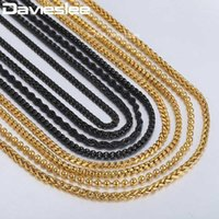 Chains Davieslee Mens Womens Necklace Gold Black Stainless Steel Braided Wheat Curb Cuban Link Chain Drop 2021 DKNN31