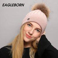 Eagleborn شعار الشتاء قبعة للنساء الصوف الحياكة قبعة بيني 15 سنتيمتر ريال بوم بومس skullies الفتيات 1