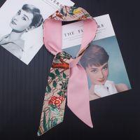 Letra floral lenço de seda 2020 novo design headband para mulheres moda impressão cabeça cachecol longo alça saco lenço lenços
