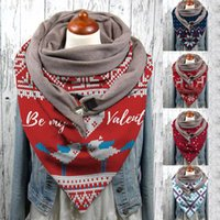 Fashion Women Scarve Christmas Printing Button Soft Wrap Casual Warm Scarves Shawls Fashion Leisure Comfortable Soft Personality