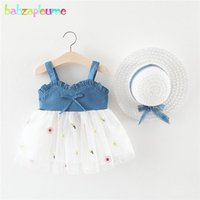 2piece estate bambine abbigliamento abbigliamento abbigliamento bambino senza maniche in pizzo maglia denim baby princess dress + sunhat abiti neonati 2004-11