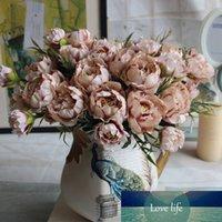 Shabby Chic Buket Avrupa Pretty Gelin Düğün Küçük Şakayık Ipek Çiçekler Ucuz Mini Sahte Çiçekler Ev Dekorasyon Için Kapalı