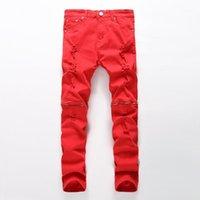 Erkek Jeans Est Erkekler Ripped Kırmızı Siyah Beyaz Fermuar Hip Hop Erkek Punk Kaya Sıkıntılı Biker Elastik Denim Pantolon Artı Boyutu1
