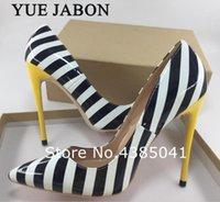 Yue jabon 2021 nueva llegada mujer cebra negro blanco raya elegante tacones altos zapato de boda 35-43 tamaño grande tacones amarillos bonitos zapatos1