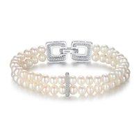Moda 925 Sterling Silver Pearl Strands Pulseras con cuentas para mujer Diseñador Sencillo Joyería de Lujo Brazalete High Quatity Mens Gold Bracelet