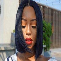 Allove przedstryped koronki zamknięcie krótkie bob peruka proste 2x6 indyjskie brazylijskie ludzkie włosy peruki