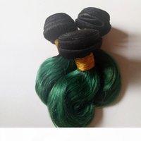 Kurzer Bob-Stil Full Nuticle Unverarbeitete brasilianische jungfräuliche Haarkörperwelle Gutes Verhältnis, volles und dickes gesundes Ende 8-12inch Omber 1b grün 3pc
