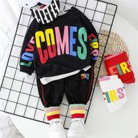 Мода Baby Boy Одежда набор буквы футболки + брюки 2 шт. 2020 Новый малыш мальчики весенний осенний уход 1 2 3 4 года LJ200831