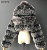 LUZUZI NEUE WINTER WINTER PELLRY GERBARE FAUX Pelzmäntel Frauen 2020 Flauschiger Top Mantel mit mit Kapuze Warm-Pelzjacke Damen Manteau Femme