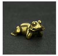 Mini Cute Vintage Brass Frogs Statue Decoration Ornament Sculpture Sleeping Thinking Frog Home Office Desk Ornament Toy