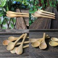 Novo padrão colher de bebê colher pequenas colheres de sopa de madeira Scoop linda casa de cozinha doméstica ferramentas 10cm jantando 0 7ad d2