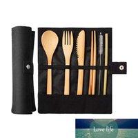 7-piece خشبية الأطباق سكاكين شوكة ملعقة عيدان أدوات السكاكين مجموعة الخيزران القش عشاء مجموعة مع حقيبة القماش السفر بالجملة