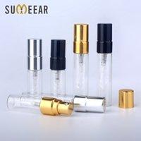 100 unids / lote 3ml 5 ml de muestra de spray botella de spray transparente de cristal de cristal del atomizador de contenedor de contenedor de viajes para mujer