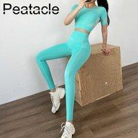 Peatacle Frauen 2 Stück Set Sport Gym Fitness Workout Kleidung Sportanzug Damen Zwei Stück Tops Sport Leggings Set Yoga Outfit T200424