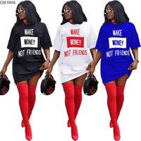 CM.YAYA Frauen verdienen Geld nicht Freunde Brief Druck Oansatz Kurzarm T-Shirt Kleid Mode Streetwear Tee Kleider Q0111
