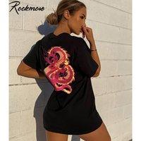 Rockmore Dragon Print Kurzarm Tshirts Plus Größer Brief Gedruckt Langhemden Sommer Lose Schwarz T-Shirt Damen Streetwear Top LJ200815