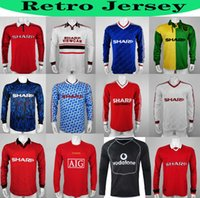 manches longues 07 08 90 92 United Retro UCL Accueil utd dernier match Manchester United 94 98 RONALDO BECKHAM CANTONA KEANE SCHOLES GIGGS Jersey