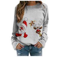 2020 European American Printing Casual Long-sleeved Pullover Round Neck Loose Christmas Printed Fleece Hoodies Sweatshirts Ladies Sweater