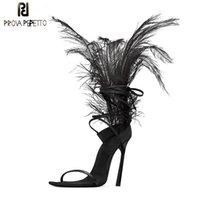Сексуальное черное перо сандалии для женщин страуса Декор волос Тонкие высокие каблуки Танцевальная обувь дамы Fur сандалии партии Zapatos де Mujer 1010