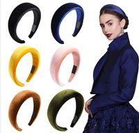 Mode gepolsterte Stirnbänder für Frauen Wide Lünette Haarbänder Dicke Samt Haarfassung Mädchen Schwamm Rutschfeste Haarband Haarschmuck 6 stücke