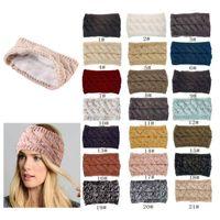 New Add fluff style 21 Colors Knitted Twist Headband Women Winter Sports Ear Warmer Head Wrap Hairband Fashion Hair Accessories
