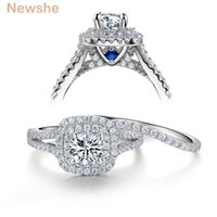 LUXURY- NEWSHE 2 PZ Solid 925 Sterling Silver Silver Wedding Ring Ring Sets Style Victorian Style Blue Stone Stone Stones Classic Gioielli per le donne Y1890705