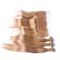 Honey Blonde 3 ofertas de paquetes con Full Frontals Straight # 27 Brasilian Strawberry Blonde Human Hair Weaves con un cierre frontal de encaje de 13x4